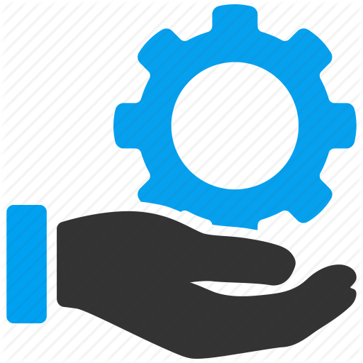Icon of a hand holding a cog